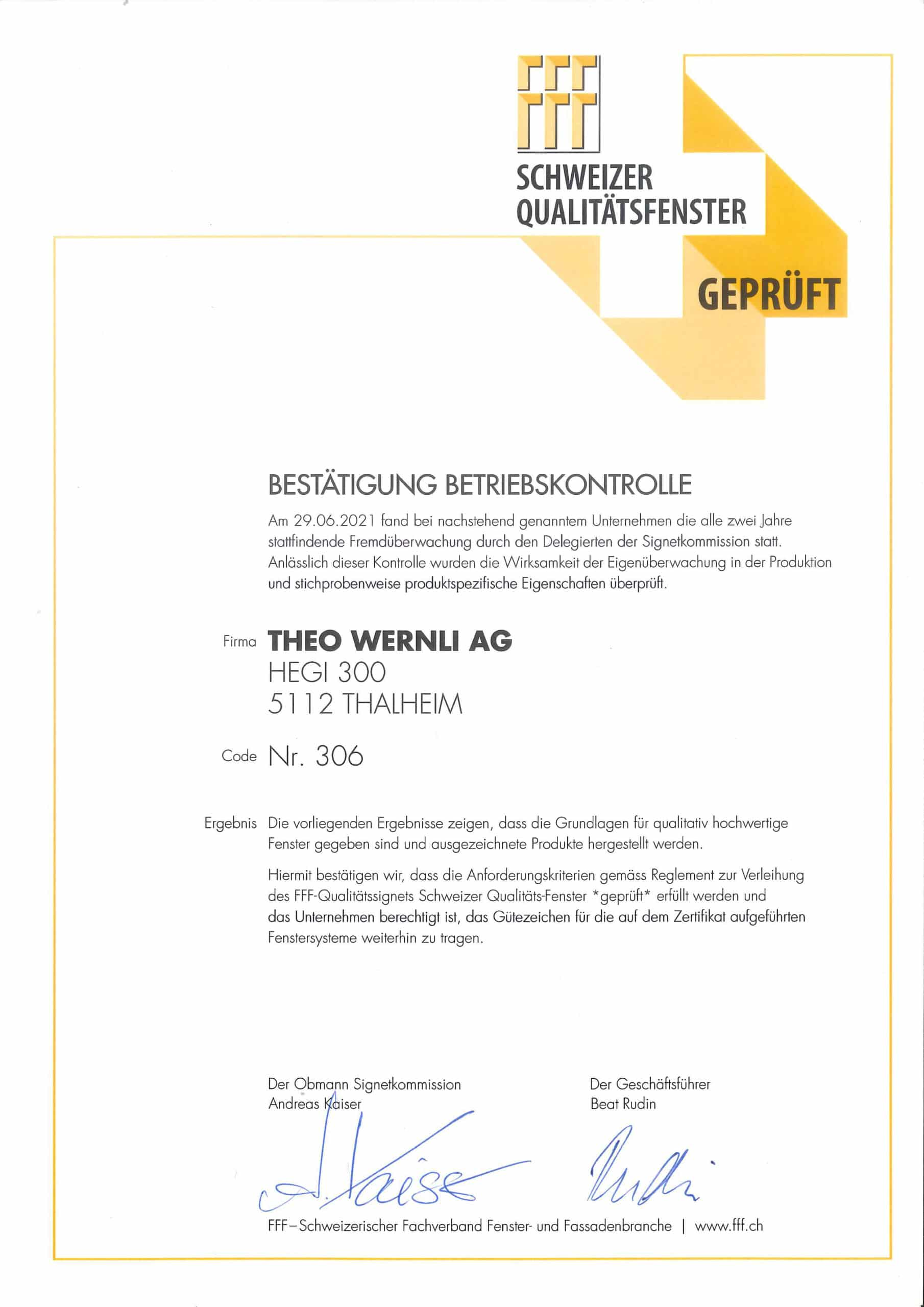 Schweizer Qualitätsfenster Geprüft 2021